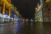 Night Photo Of Beautiful Historical City Hall In Poznan,poland