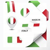 stock photo of italian flag  - Made in Italy collection of ribbon label stickers pointer badge icon and page curl with Italian flag symbol - JPG