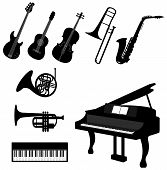 picture of trombone  - Set of silhouette musical instrument icons create by vector - JPG