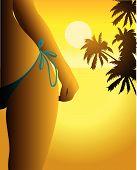 Landscape beach bikini backlight