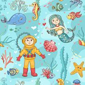 foto of swim meet  - Mermaid and diver seamless pattern - JPG