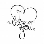 Caligraphic Text - I Love You