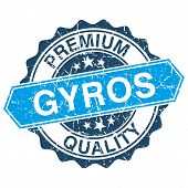 stock photo of gyro  - Gyros grungy stamp isolated on white background - JPG