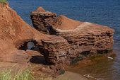 Rock formations along the north shore of Prince Edward Island, Canada.