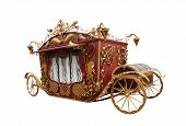 foto of chariot  - Parody of an old carriage isolated on white - JPG
