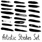 Artistic Strokes Set. Every Stroke Arranged To Individual Group.