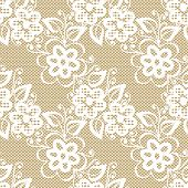 Seamless White Lace On Beige Background