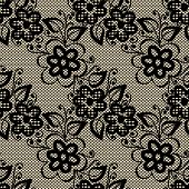 Seamless Black Lace On Beige Background