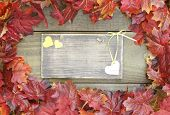Autumn leaves border rustic wood sign with yellow hearts