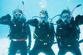 Friends on scuba training submerged in swimming pool showing thumbs down on their holidays
