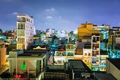 HO CHI MINH, VIETNAM - APRIL 28, 2014: Night view of one of the oldest neighborhoods in Ho Chi Minh
