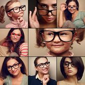 Happy Smiling Portrait Collage Collection From People In Glasses Looking. Fashion Style Of Different