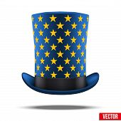 Blue big wizard hat cylinder with gold stars.