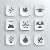 Science icons set - vector white app buttons