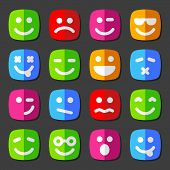image of angry smiley  - Flat vector emotion icons with smiley - JPG