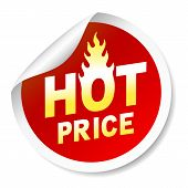 Hot price sticker badge with flame