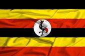Uganda Flag On A Silk Drape Waving