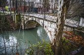 Tajo river.Ornamental fountains of the Palace of Aranjuez, Madrid, Spain