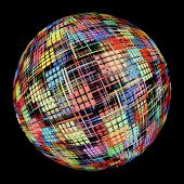 Abstract Multicolored Globe Silhouette On Black Background.