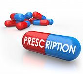 Prescription word on a 3d red and blue capsule or pill as prescribed medical treatment