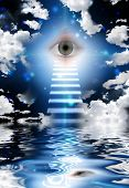 stock photo of all seeing eye  - Stairs lead to eye - JPG