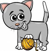 Cat With Yarn Cartoon Illustration