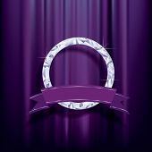 abstract vector background, diamond ring with blank banner on purple velvet