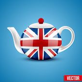 Background of English ceramic teapot with flag Great Britain.