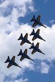 US Navy Blue Angels F-18 Hornet planes perform in air show during Fleet Week 2014