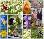 Montage of mixed race children, girl & boy playing enjoying a healthy spring garden holding a wateri