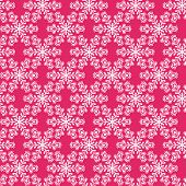 Seamless Pattern With Snowflakes On Pink Background.