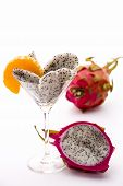 Fruit pulp of the dragon fruit in a glass