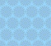 Blue Seamless Pattern Made Of Round Decorative Elements.