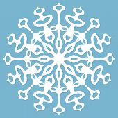White Snowflake On Blue Background.