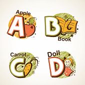 Alphabet set from A to D
