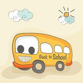 Cartoonist illustrations of a school bus on nature background.