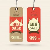 Offer and discount sale tags in brown and orange color for the festival of Eid Mubarak.