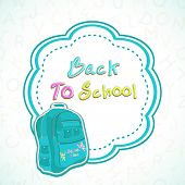 Kiddish illustration of a school bag on colorful decorated background on floral decorated grey backg