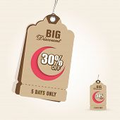 Offer and discount sale tags in brown color for the festival of Eid Mubarak.