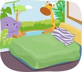 Illustration of a Kid's Room with a Safari Theme