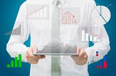 Businessman Standing Posture Hand Graph On Tablet Isolated