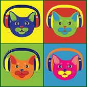 brightly colored cats in the music headphones