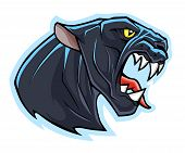 pic of panther  - Stylized angry panther head - JPG