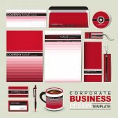 Business Corporate Identity Template With Red And Black Line