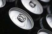 Closeup of a group of beer cans