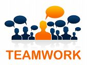 Team Teamwork Means Cooperating Ally And Cooperate