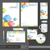 Corporate Identity Template With Color Cube Elements.