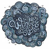 Winter hand lettering with curled background.