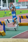 ZHUKOVSKY, MOSCOW REGION, RUSSIA - JUNE 27, 2014: Maksim Nesterenka of Belarus performs triple jump