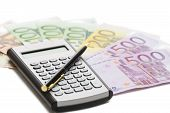 European  Banknotes, Calculator And Pen